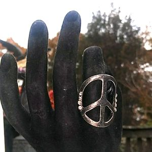 VINTAGE Large Peace Sign w Rhinestones Pewter Ring